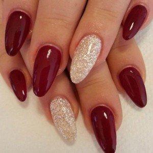 Red & white glitter nails
